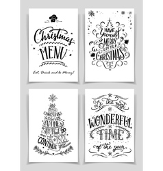 Christmas hand lettered greeting cards set vector image vector image