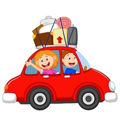 Family cartoon traveling with car vector image