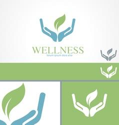 Hands Leaf Green Wellness Health Logo template vector image