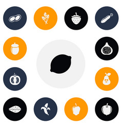 set of 13 editable food icons includes symbols vector image