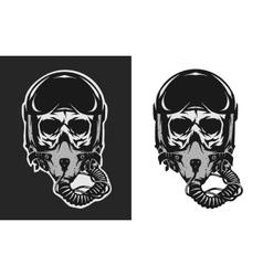 Skull in combat pilot helmet vector image