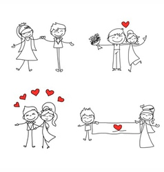 cartoon character happy lovers wedding vector image