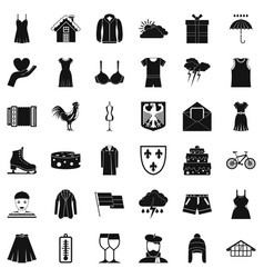 clothing accessories icons set simple style vector image vector image