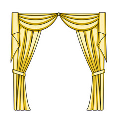 curtains with drapery on the cornicecurtains vector image