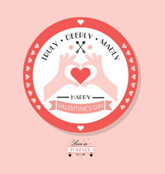 cute pink happy valentines day emblem and badge vector image vector image
