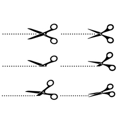 cutting scissors and line points vector image vector image