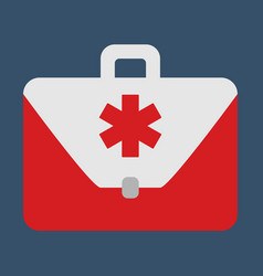 medical bag object flat icon vector image vector image