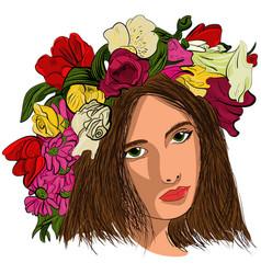 pop art beautiful woman in flower wreath vector image vector image