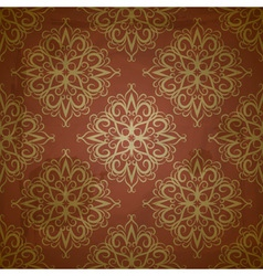 seamless floral golden pattern on red grungy backg vector image vector image