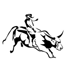bull riding vector image vector image