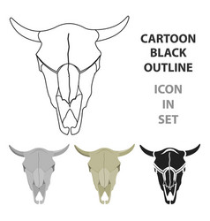 bull skull icon cartoon singe western icon from vector image