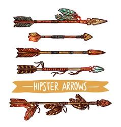 Hipster Color Sketch Arrows Set vector image vector image