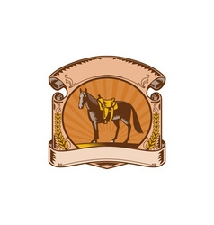 Horse Western Saddle Scroll Woodcut vector image