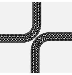 Tire tracks cross vector