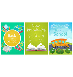 welcome back to school concept template school vector image vector image