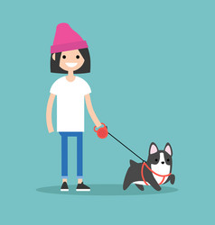 young smiling girl walking the dog flat editable vector image vector image