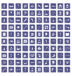 100 disabled healthcare icons set grunge sapphire vector image vector image