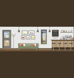a modern coffee shop panorama vector image