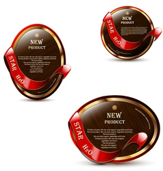 Brown labels with red ribbons vector image