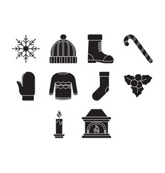flat black winter season icon set vector image vector image