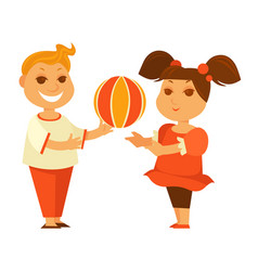 happy children girl or boy playing ball outdoor vector image vector image