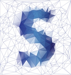 letter S low poly vector image vector image