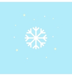 Snowflake Icon Winter symbol on blue background vector image