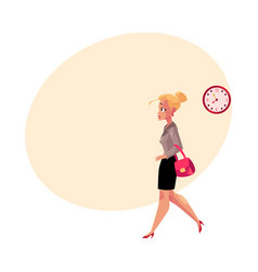 young blond businesswoman hurrying being late to vector image vector image