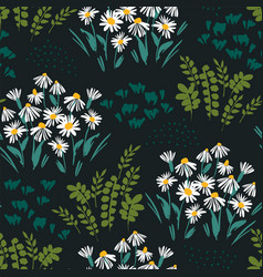 abstract floral seamless pattern with chamomile vector image