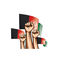 Afghanistan flag and hand on white background vector
