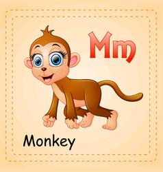 Animals alphabet m is for monkey vector