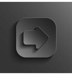 Arrow icon - black app button vector image