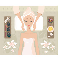 beautiful young woman relaxing spa salon face body vector image