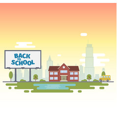 billboard with words back to school on the vector image