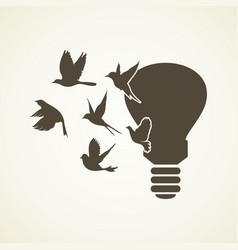 Bird light bulb vector