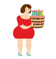 Birthday woman Fat cheerful girl and cake with vector image