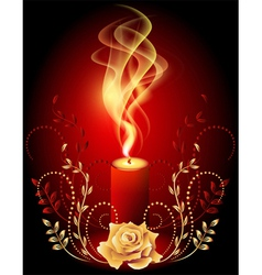 Burning candle with smoke vector image