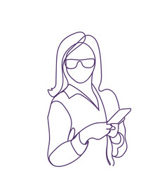 Business woman use smart phone doodle female vector