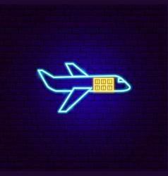 cargo plane neon sign vector image