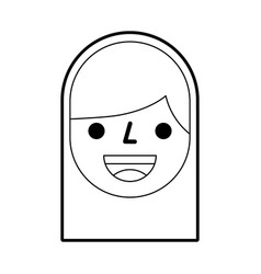 cartoon face girl smile avatar person icon vector image