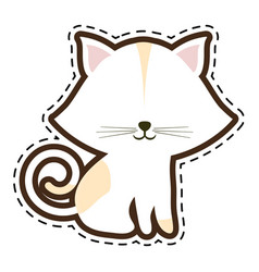 cat feline animal cut line vector image