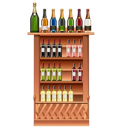 Champagne and wine bottles on shelves vector