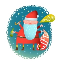 Cheerful Fun Monster crazy Santa Claus with gifts vector image