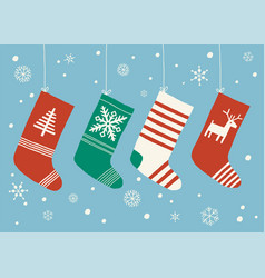 christmas stockings background christmas socks vector image