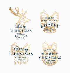 classy merry christmas and happy new year abstract vector image