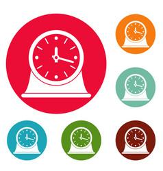 Clock vintage icons circle set vector