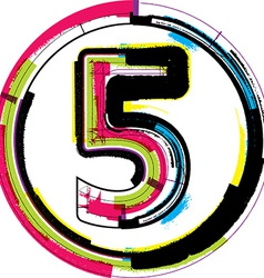 Colorful Grunge Font NUMBER 5 vector image