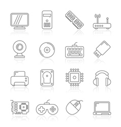 Computer parts and accessories icons vector