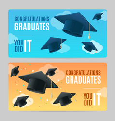 Congratulation graduates banner horizontal set vector