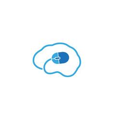 creative abstract human brain computer mouse logo vector image